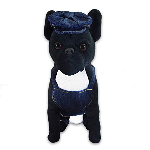 FGA MARKETPLACE French Bulldog Stuffed Animal, Realistic Looking Supersoft Plush Toy , Amazing Collection, A Huggable Keepsake for All Ages (Denim Outfit)