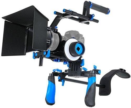 Morros DSLR Rig Movie Kit Shoulder Mount Rig + Follow Focus + Matte Box + Adjust Platform+ C Shape Support Cage +Top Handle for All DSLR Cameras and Video Camcorders