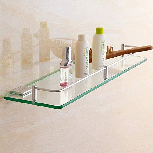 UYZ Alliage d'aluminium étagère en verre Salle de Bain vanité tenture Mural Toilette Simple couche carré Salle de Bain miroir Avant Rack Rangement board-400mm