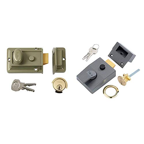 Yale P-77-ENB-PB-60 Traditional Nightlatch, Standard Security, Nickel Finish/Brass Cylinder, 60 mm Backset & P-89-DMG-PB-60 Deadlocking Nightlatch, 60 mm Backset, Dark Metallic Finish/Brass Cylinder