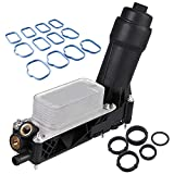 5184294AE Engine Oil Cooler Assembly Filter Housing Adapter&Intake Manifold Gaskets Set Compatible with 2011-2013 Jeep Wrangler Grand Cherokee Dodge Avenger Challenger Chrysler Town 3.6L