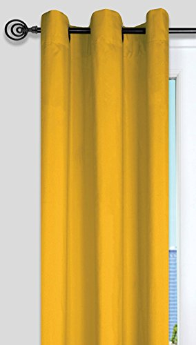 Lovely Casa R64689021 Nelson Vorhang mit Ösen, Polyester, 135 x 240 cm, Gelb