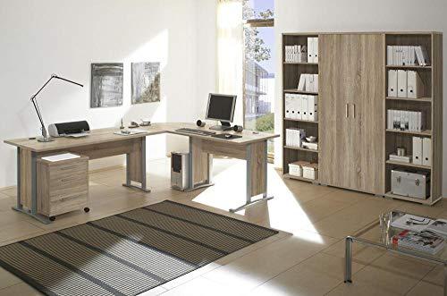 Arbeitszimmer Möbel komplett Set Büro Büromöbel Office Line 5 TLG Set 2 Eiche Sonoma 5 TLG