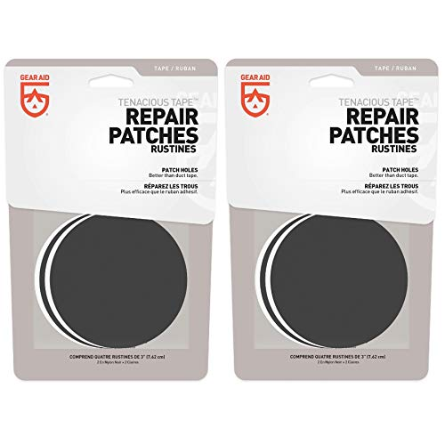 GEAR AID Tenacious Tape Repair Patches Clear & Black 3' Round Flexible (2-Pack)