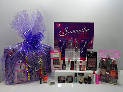 20pc Perfume & Make Up Gift Hamper For Her ~ Samantha 4pc Perfume Set + Make up + Nails + Eyelashes + Make Up Bag ~ Gift Wrapped Gift Hamper For Her....085...