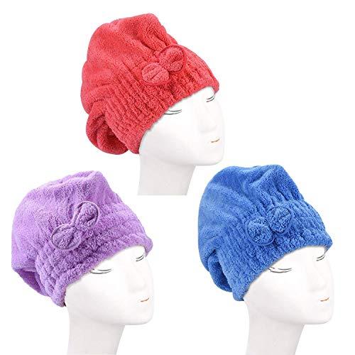3 Pack Haar Handtuch Wrap (Lila,Rot,Blau), Wrap Turban, Haarturban, Kopfhandtuch Baumwolle, Mikrofaser-Haartuch, schnell Magic Trockner, Super saugfähig, super nach Bad und Dusche