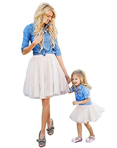 Minetom Donna Mamma e figlia casual gonna senza maniche confortevole Boho Lace Stitching maxi Beach Party Family Vestito Clothes UK 6 (mamma) Blu bianco