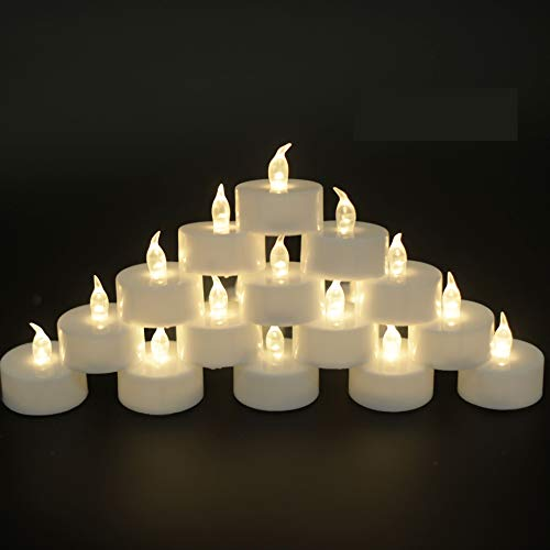 JUNPEI Battery Operated Powered Tea Lights : Realistic Tea Lights Flickering Candles Gift Suitable for Wedding Parties Festival Celebration Long Lasting (100pack Warm White)