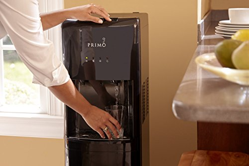 Primo Bottom Loading Water Cooler - 2 Temperature Settings, Hot & Cold - Energy Star Rated Water Dispenser with Child-Resistant Safety Feature Supports 3 or 5 Gallon Water Jugs [Black]