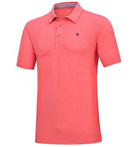 donhobo Polo de golf uni à manches courtes pour homme - Séchage rapide - Orange - XX-Large