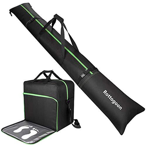 Rottogoon Gepolsterte Skisack und Schuhtasche Combo-Skischuh-Reisetasche,Für Skier bis 200 cm und Stiefelgröße 50.5 Zum Aufbewahren und Transportieren von Skiern