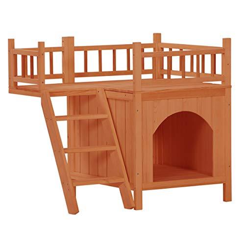 Casa para mascotas, casa de madera para gatos, casa para perros, casa de madera de lujo al aire libre, refugio para mascotas con balcón