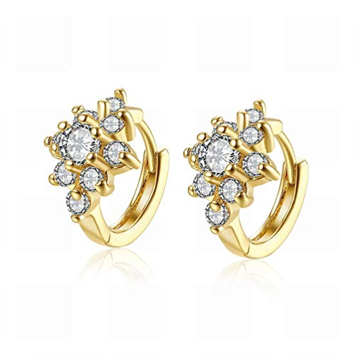 Small and Exquisite Fashion K Gold Flower-shaped Diamond Earrings Plated Gold Jewelry/Stainless Steel/Anti-allergic/Silver Flashing/Diamonds/Zirconia Made,Colour:As Show Bracelets Earrings R