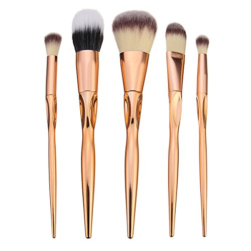 KINGDUO 5Pcs Pinceaux De Maquillage Doux Ensemble Kit Cosmétiques Dorés Outils Ombre À Paupières Lip Mélange Blush Brosse