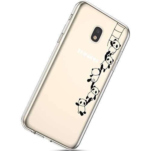 Herbests Handyhülle Kompatibel mit Samsung Galaxy J3 2017 Schutzhülle Silikon hülle Transparent Ultradünn Clear Cover Handytasche Weich Durchsichtig Klar Schutzhülle Case Cover Tasche,Lustig Panda