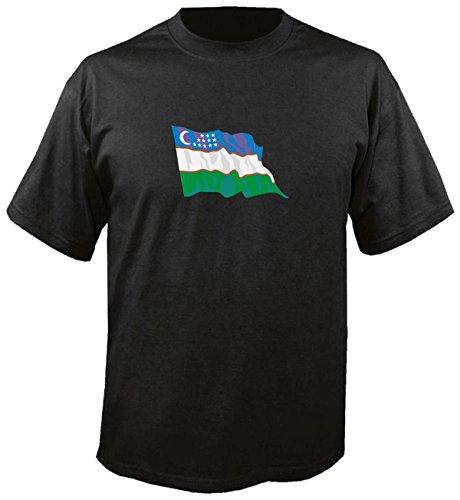 T-Shirt für Fußball LS193 Ländershirt S Mehrfarbig Uzbekistan - Usbekistan Fahne/Flagge - Fanshirt - Fasching - Geschenk - Fasching - Sportshirt schwarz