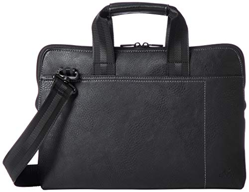 """RIVACASE Tasche für Laptops bis 13.3"""" – Sehr kompakte Notebooktasche mit Zusatzfächern & extra verstärkten Seiten - Schwarz"""