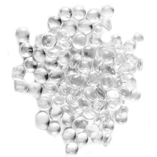 NEEZ glas kiezels voor decoratie doel in aquarium, vazen en huisdecoratie, stenen kralen afgerond, uggets, mozaïek tegels, edelstenen in netzakken (Clear Pebbles-100 stks/500 gm)