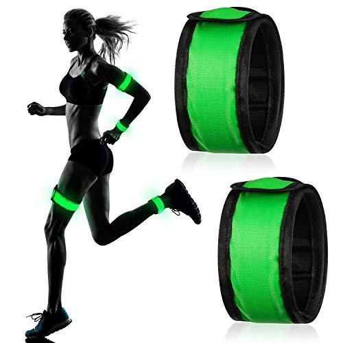 2 Stück LED Armband Reflektierendes Armband Knöchel Reflektierende Streifen Leuchtendes Sport Armband für Hunde Gehen Laufen Joggen Outdoor Aktivitäten (Grün)