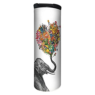 Tree-Free Greetings Love Elephant Flower Vacuum Insulated Travel Coffee Tumbler, 17 Ounce Stainless Steel Mug, Cute Gift for Coffee Lovers (BT21864)
