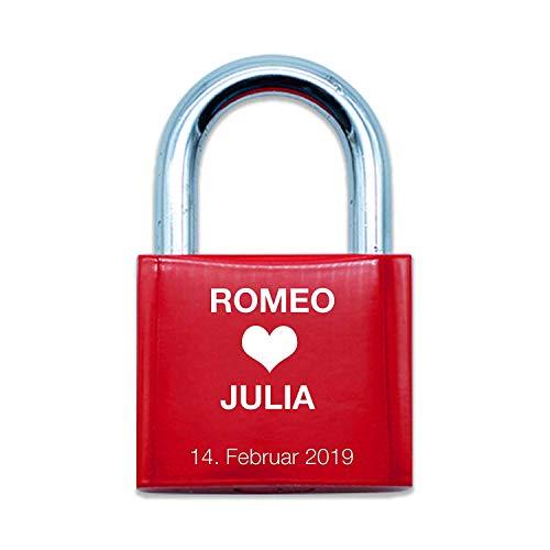 Liebesschloss rot graviert   Name & Datum   ideales Geschenk für Paare & Verliebte  verschiedene Motive