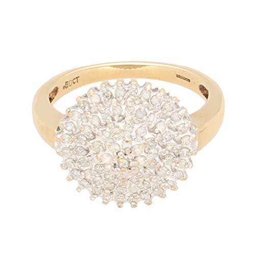 Anillo de oro amarillo de 9 quilates con diamante de 0,50 quilates (tamaño P), cabeza de 15 mm | Anillo de lujo para mujer