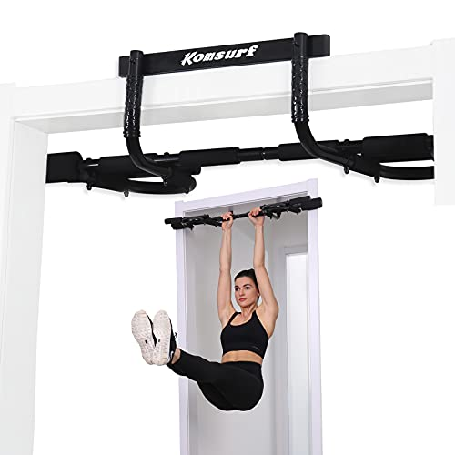 KOMSURF Pull up Bar Doorway, Door Pullup Chin up Bar Home, Multifunctional Portable Dip bar Fitness, Exercise Equipment Body Gym System No Screws Trainer