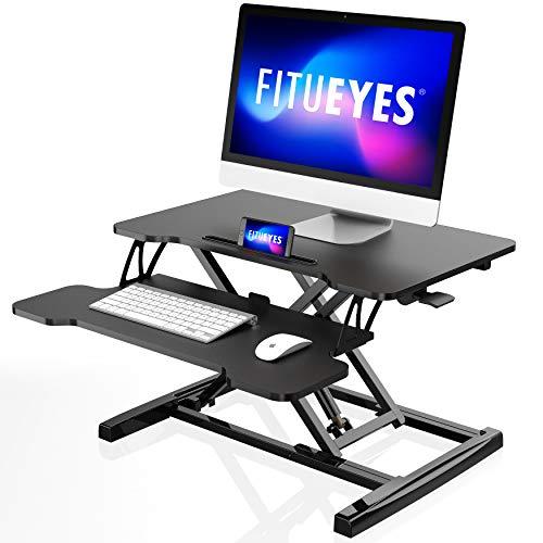 FITUEYES Stehpult Höhenverstellbarer Schreibtischaufsatz mit Tastaturablage L64* W40*H(11.5-43) cm Für Büro Zuhause Schwarz SD260001WB