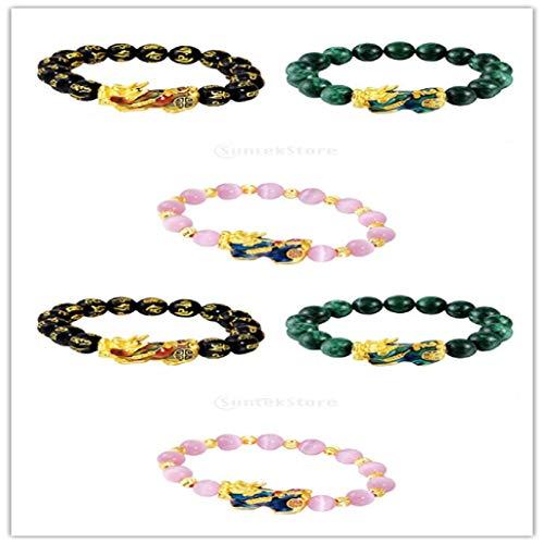 F Fityle 6Pcs Feng Shui Mantra Black Obsidian Pixiu Charms Bracelet Good Luck Jewelry