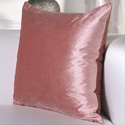 LLWYH Fundas para Cojines De Almohada Funda De Cojín Decorativa Cuadrada Simple del Sofá del Dormitorio del Terciopelo del Color Sólido Rosado 50x50 cm (Sin Núcleo)