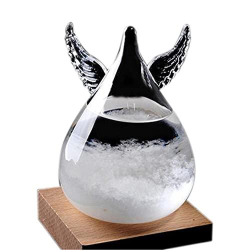 HAO KD Mini ángel tormenta Botella de Cristal Clima Predictor Transparente Lindo tormenta pronosticado barómetro con Base de Madera Boda de cumpleaños, decoración del hogar de Escritorio (Color : A)