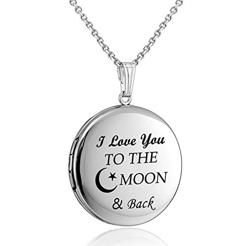 YOUFENG Love Heart Locket Necklace That Holds Pictures Engraved I Love You to The Moon and Back Photo Lockets (Round Locket)