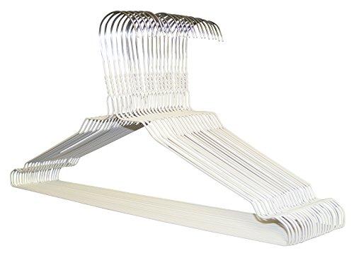 100 Drahtbügel in WEISS, Metall Kleiderbügel von KleinesKaufhaus24, hochwertige Zink- und farbige Pulverbeschichtung, platzsparende Drahtkleiderbügel
