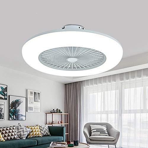 Deckenventilator mit Beleuchtung, leise unsichtbare Deckenventilator LED Licht, Dimmbar mit Fernbedienung, led Deckenlampe für Schlafzimmer Wohnzimmer Esszimmer (Weiß)