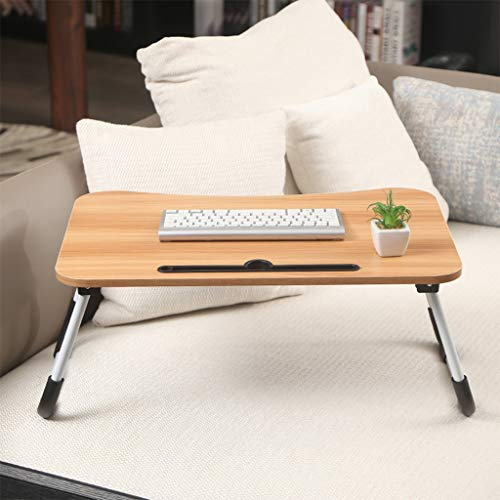 US Fast Shipment Laptop Table for Bed Portable Night Stand Coffee Large Computer Tray for Bed,Foldable Bed Desk for Laptop Multi Tasking Laptop Bed Tray(Khaki)