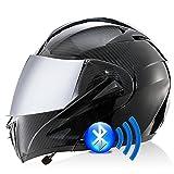 Casco De Moto Modular Bluetooth Integrado Casco Anticolisión con Visor Solar Doble Casco Integral Certificado Dot/ECE Apto para Hombres Y Mujeres En Temporadas