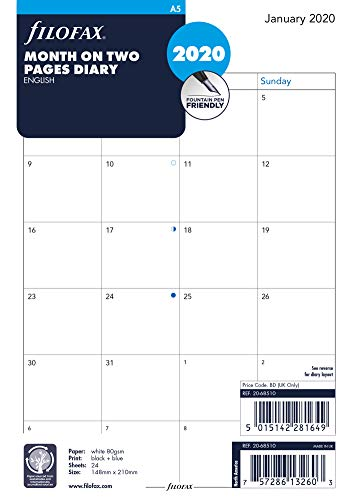 Filofax 2020 A5 Month to View English Refill, Monthly, Jan 2020- Dec 2020, 8.25 x 5.75 inches (C68510-20)