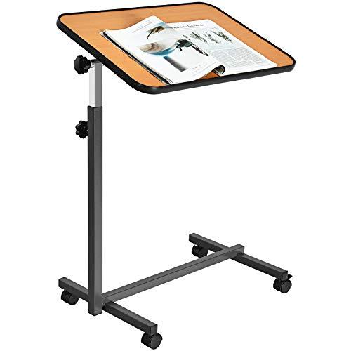 COSTWAY Laptoptisch höhenverstellbar, Pflegetisch Notebooktisch Betttisch Sofatisch Rolltisch, neigbare Tischplatte mit Rollen (Natur)