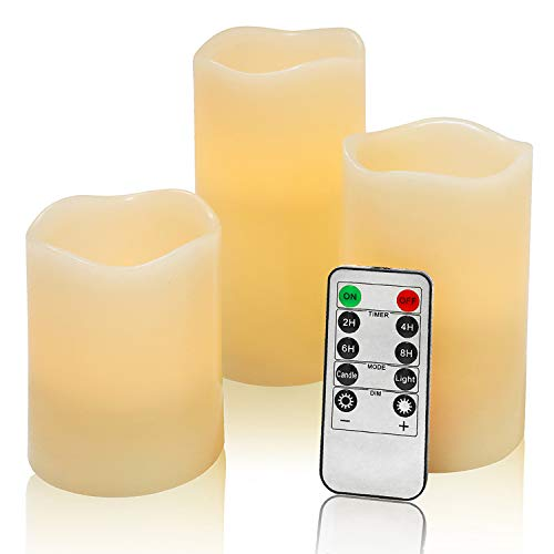 Flameless Flickering LED Battery Candles :Set of 3 Ivory Real Wax Pillar Operated Fake Faux Lights with Remote Control and Timer Function Flicker Candle for Decoration Christmas Votive Garden Outdoor