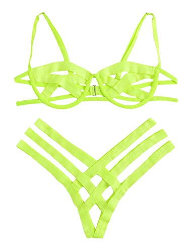 SheIn Women's Sexy Ladder Cut Out Lingerie Set Push Up Two Piece Bra and Panty Small Green