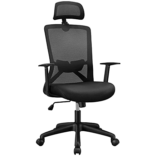 Yaheetech Adjustable Office Chair Computer Chair Modern Desk Chair Ergonomic Swivel Chair with Back Support and Wheels for Manager Work or Home Study Black