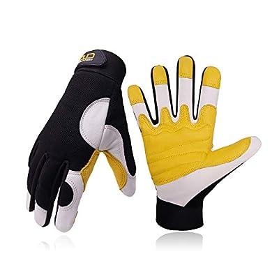 Goatskin Leather Work Gloves for Men, Stretchable Utility Safety Work Gloves Mechanics Gloves Driver Work Gloves, Flexible Breathable Working Gloves (XL, Yellow/White)