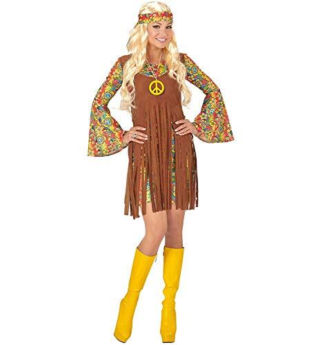 Disfraz Hippie de Mujer Vestido Cinta y Cadena 60años 70Flower Power