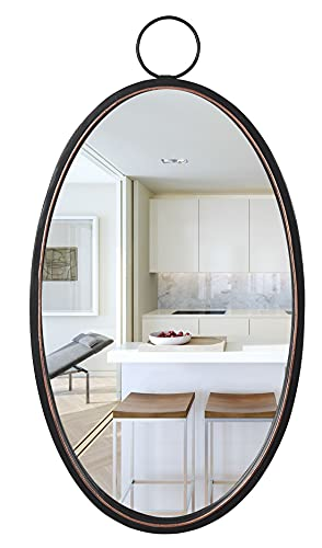 Black Oval Wall Mirror with Metal Frame and Hanging Ring for Bathroom Vanity Bedroom Living Room Entryway Wall Decor, 12' L x 1.6' W x 23' H