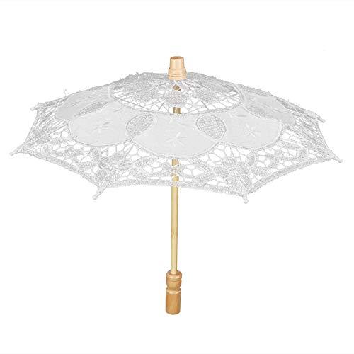 WinmetEuro Paraguas de Encaje, Encaje fácil de Llevar Paraguas de Boda de Mano de Obra Fina para Celebraciones de Bodas(Beige, Small)