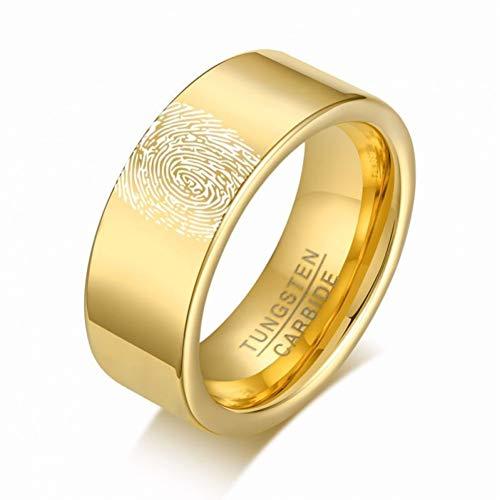 XWHKX Fingerprint Ring Pipe Wedding Ring for Men Jewelry