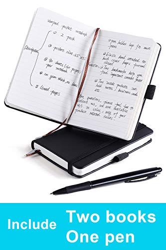 (2 Pack) Pocket Notebook Small Hardcover Note Book 3.5' x 5.5', Mini Ruled Lined Journal, Leather Cover, Black, with Pen Holder, Bookmarks and Inner Pockets