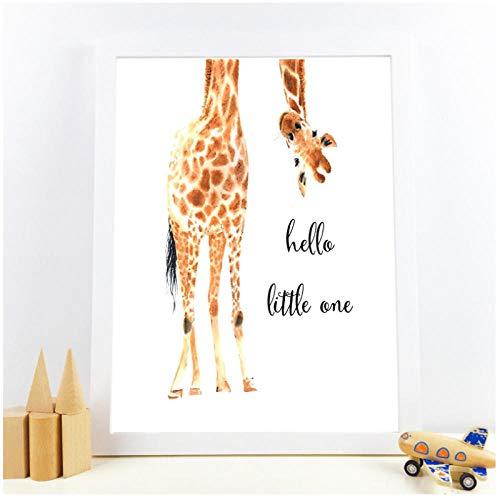 """Giraffe Print""""Hello Little One"""" Kinderzimmer Wand Kunst Leinwand Gemälde Nordic Poster Wand Bild Baby Girl Boy Geschenk Kinderzimmer Dekor/50x70cm-Kein Rahmen"""