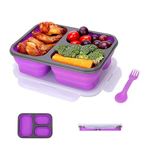 DROB Silikon Faltbare Frischhaltedosen für Lebensmittel Aufbewahren,Einfrieren und Erwärmen,Lunchbox/Bento,Mikrowellen, Spülmaschinen,Gefrierschrank,Ofenfest/A