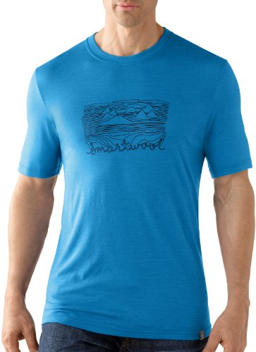 Smartwool t-Shirt à Manches Courtes pour Homme Coupe ajustée Mountain Sun Bleu Bleu XXL